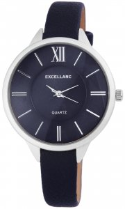 Armbanduhr Blau Silber Kunstleder Excellanc 1900042