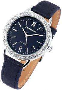 Armbanduhr Blau Silber Crystal Kunstleder Excellanc 1900080