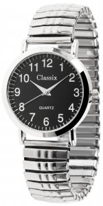 Armbanduhr Schwarz Silber Metall Zugband Classix 2700007