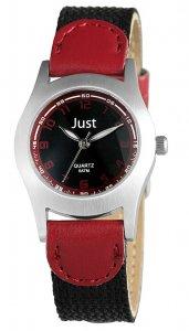 Armbanduhr Schwarz Silber Rot Textil Kunstleder JUST JU10161