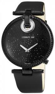 Armbanduhr Schwarz Silber Leder CERRUTI CCRWM036V222A