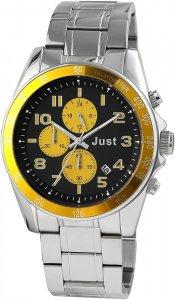 Armbanduhr Schwarz Gelb Silber Metall JUST JU20082