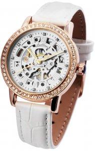 Armbanduhr Silber Rosé Weiss Handaufzug Leder Ballhaus 1900133