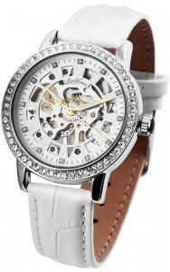 Armbanduhr Silber Weiss Handaufzug Leder Ballhaus 1900133