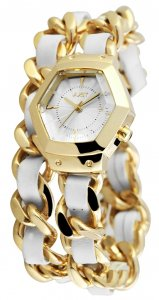 Armbanduhr Silber Gold Weiss Wickelarmband JUST 10077