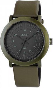 Armbanduhr Schwarz Grün Kunstleder JUST 48-S9627