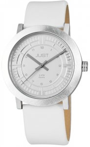 Armbanduhr Silber Weiss Kunstleder JUST 48-S9627