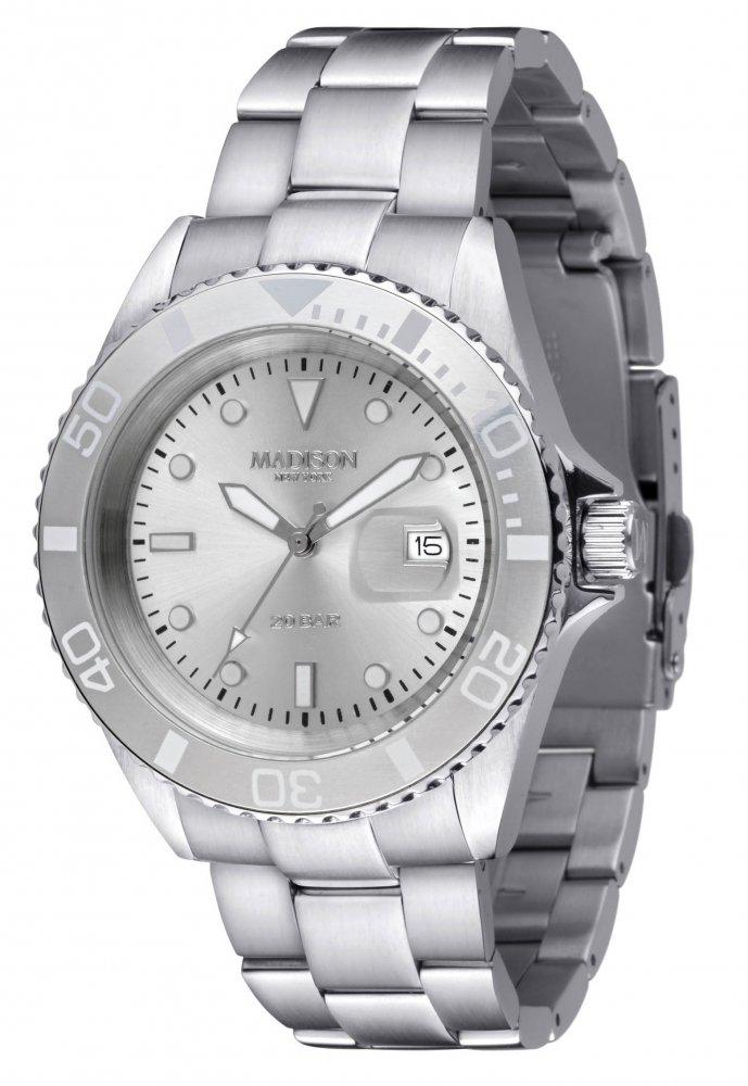 Armbanduhr Silber Metall Madison G4790C GLAMOR® William Silber