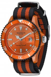 Armbanduhr Silber Orange Schwarz Candy Time® Sailor Madison U4616-04
