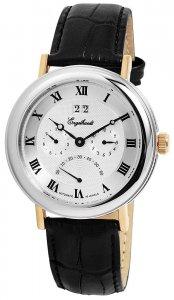 Armbanduhr Silber Gold Schwarz Leder Engelhardt 386712529007