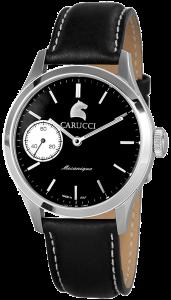 Armbanduhr Schwarz Silber Handaufzug Leder CARUCCI CA6628BK