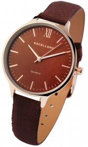 Armbanduhr Braun Rosé Textil Kunstleder Excellanc 1900117
