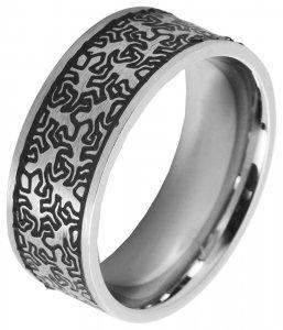 Ring Silber Schwarz Edelstahl Akzent 5070025