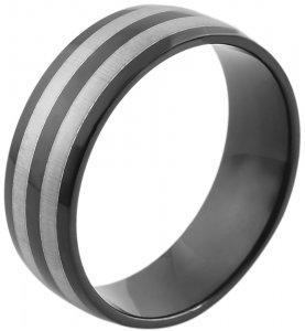 Ring Silber Schwarz Edelstahl Akzent 5060230