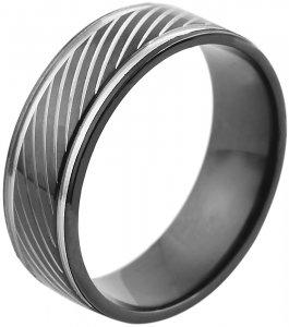Ring Silber Schwarz Edelstahl Akzent 5060232