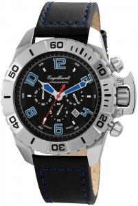 Armbanduhr Schwarz Blau Silber Leder Engelhardt 388921129003