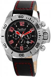 Armbanduhr Schwarz Rot Silber Leder Engelhardt 388921229003