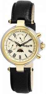 Armbanduhr Gold Silber Schwarz Leder Engelhardt 385714029028