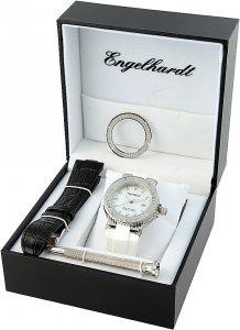 Armbanduhr Perlmutt Silber Weiss Schwarz Silikon/Leder Engelhardt 386702019030