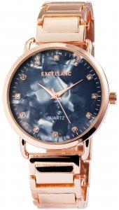 Armbanduhr Blau Perlmutt Rosé Crystal Excellanc 1800076