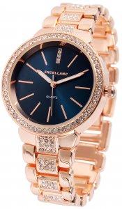 Armbanduhr Blau Rosé Crystal Excellanc 1800016
