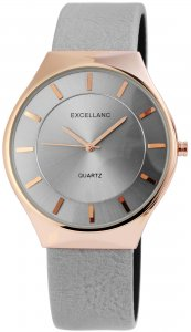 Armbanduhr Grau Rosé Kunstleder Excellanc 2910011