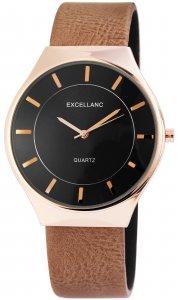 Armbanduhr Schwarz Rosé Braun Kunstleder Excellanc 2910011