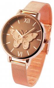 Armbanduhr Braun Rosé Schmetterling Metall Excellanc 1900098
