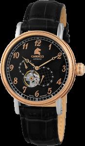 Armbanduhr Schwarz Rosé Silber Leder CARUCCI CA2201RG-BK