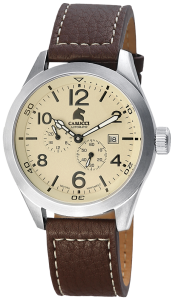 Armbanduhr Creme Silber Braun Leder CARUCCI CA2202CR