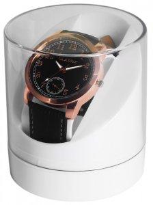 Uhrenbox Kunststoff Transparent Weiss rund 9,4 x 8,4 cm