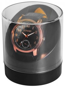 Uhrenbox Kunststoff Transparent Schwarz rund 9,4 x 8,4 cm