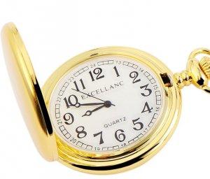 Taschenuhr Gold / Weiss Metall Excellanc 4000007
