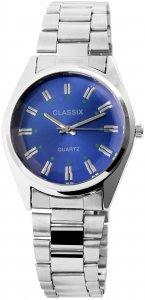 Armbanduhr Blau Silber Cutglas Metall Classix 2800015