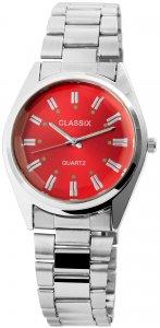 Armbanduhr Rot Silber Cutglas Metall Classix 2800015