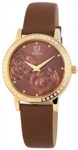 Armbanduhr Braun Gold Crystal Leder Pierrini 192207000001