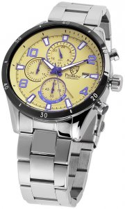 Armbanduhr Beige/Gelb Blau Silber Edelstahl Pierrini 291027500003