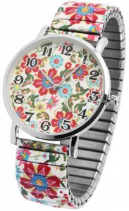 Armbanduhr Bunt Blumen Metall Zugband Excellanc 1700035
