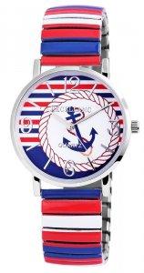 Armbanduhr Blau Weiss Rot Silber Metall Zugband Excellanc
