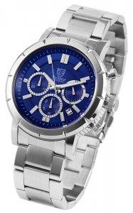 Armbanduhr Blau Silber Edelstahl Chronograph Pierrini 291023000004