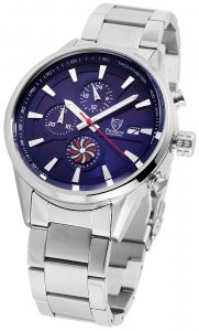 Armbanduhr Blau Silber Edelstahl Chronograph Pierrini 291023000006