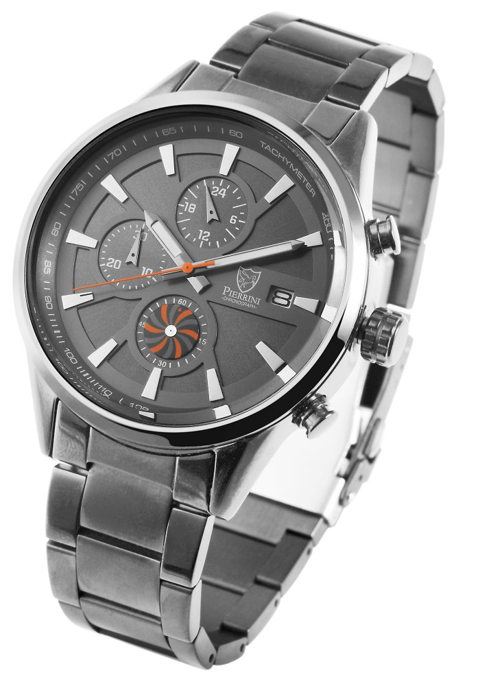 Armbanduhr Anthrazit Silber Edelstahl Chronograph Pierrini 291071500006