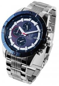 Armbanduhr Blau Silber Edelstahl Chronograph Pierrini 291023000008