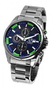 Armbanduhr Blau Grün Anthrazit Silber Edelstahl Chronograph Pierrini 291073000009