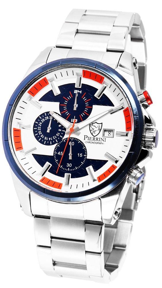 Armbanduhr Blau Orange Silber Edelstahl Chronograph Pierrini 291023000009