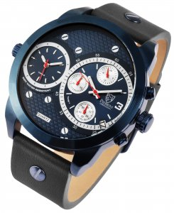 Armbanduhr Blau Grau Leder Chronograph Pierrini 291093000012