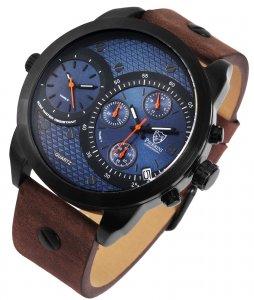 Armbanduhr Blau Schwarz Braun Leder Chronograph Pierrini 291073000012