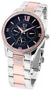 Armbanduhr Blau Rosé Silber Crystal Edelstahl Pierrini 182243000001