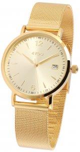 Armbanduhr Gold Edelstahl Meshband Datum 4YOU 250001015