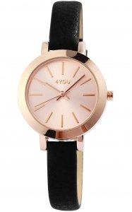 Armbanduhr Rosé Schwarz Kunstleder 4YOU 250013001